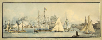 The arrival of His Majesty George the Fourth at Gravesend, after having visited Edinburgh. 1st September 1822 by John Thomas Serres - print