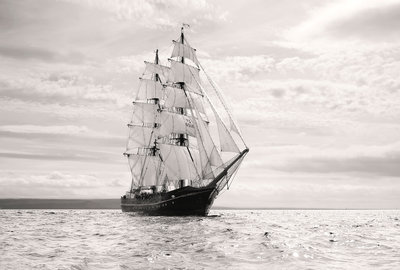 Brig 'Roald Amundsen' at the start of the Liverpool Tall Ships Race 2008 by Richard Sibley - print
