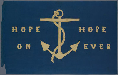 Sledge flag with anchor design and embroidered 'Hope On' 'Hope Ever' by Lady Jane Franklin - print
