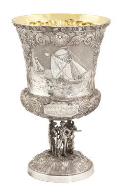 Presentation cup awarded to James Fitzjames by E. Terry & Co. - print