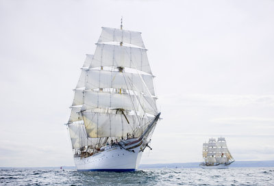 Norwegian three-masted barque 'Statsraad Lehmkuhl' during start of the Liverpool Tall Ships Race 2008 by Richard Sibley - print