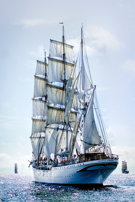 Norwegian three-masted barque 'Statsraad Lehmkuhl' during Turku Tall Ships Race 2009 by Richard Sibley - print