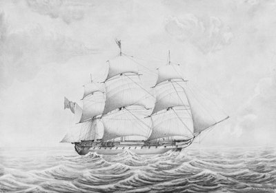 HMS 'Stag' (1830) by T.P. Coode - print