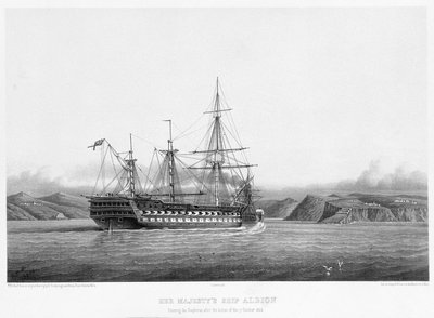 HMS 'Albion' entering the Bosphorus after the action of 17 October 1854 by E. Goodenough - print