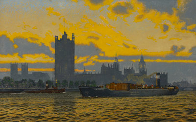 The Wandsworth Gas Company collier 'Chessington' moving upstream on the Thames, near the Houses of Parliament, circa 1948 Fine Art Print by Charles Pears