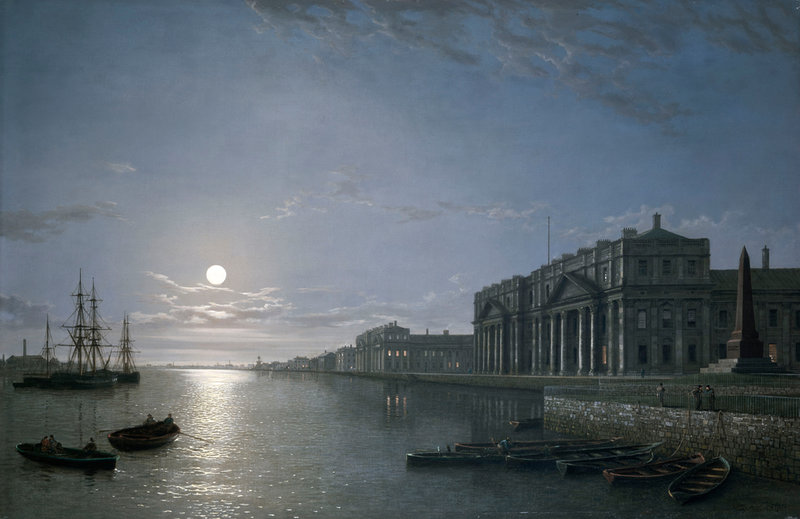 The Thames and Greenwich Hospital by moonlight - Henry Pether ...