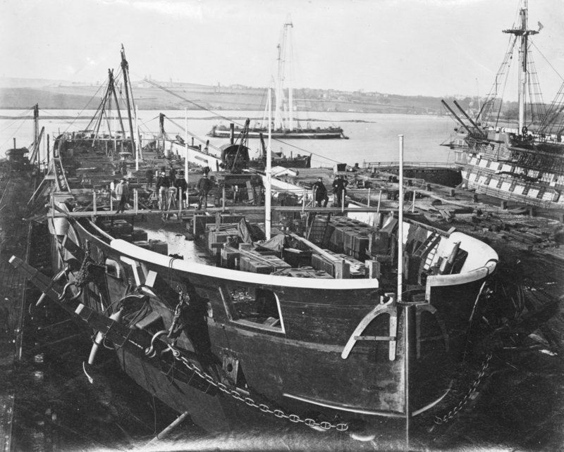 Fitting out iron steamship hms achilles at