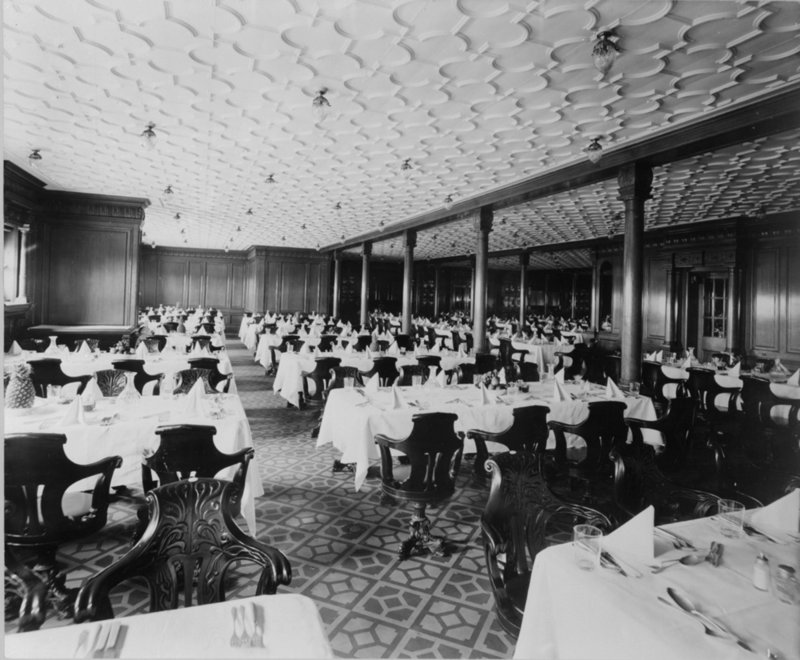 second class dining saloon on the 'olympic' (1911) - bedford