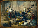 Pirates dressed in women's clothing attempt to decoy a merchant ship by J. Fairburn - print