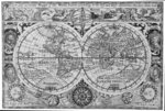 Early 17th century map of the world, after Mercator, with inset portraits of explorers (Drake, Magellan, Thomas Cavendish and Oliver van der Nort), the elements, and eclipses by British Admiralty - print