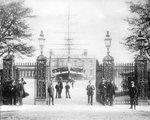 Entrance to Greenwich Hospital School with the drill ship 'Fame' and Queen's House beyond