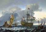The Dutch attack on the Medway: 'Royal Charles' carried into Dutch waters by Denis Dighton - print