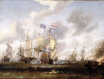 The 'Golden Leeuw' engaging 'The Royal Prince' at the Battle of the Texel, 11 August 1673' by Mather Brown - print