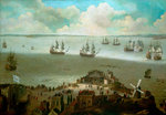 HMS 'Tiger' taking the 'Schakerloo' in the harbour of Cadiz, 23 February 1674 by Stephen Bone - print