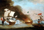 An English ship in action with Barbary Corsairs, circa 1680 by unknown - print
