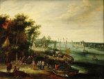 A landscape with a village on the bank of a river by Ludolf Bakhuizen - print