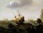 A ship in a rough sea by English School - print