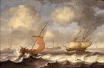Dutch ships in a breeze by Cornelisz Leonardsz Stooter - print