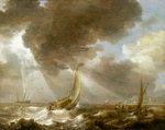 Dutch fishing boats in a fresh breeze by Aert Anthonisz - print