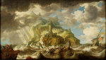 A dismasted ship in a rough sea by Samuel Drummond - print