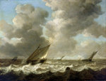 Fishing boats in a rough sea by Cornelisz Leonardsz Stooter - print