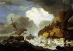 A Dutch ship foundering off a rocky coast by Joachim de Vries - print