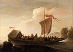 A ferry boat on a calm sea by Joachim de Vries - print