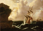 A Dutch ship in a storm by Willem Schellinks - print