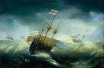 English ships in a rough sea by Joachim de Vries - print