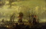 Dutch men-of-war and fishing boats in harbour by Pieter Coopse - print