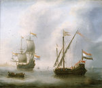 A galley and a man-of-war by Samuel Drummond - print