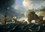 Ships and a galley wrecked on a rocky coast by Bonaventura Peeters the Elder - print