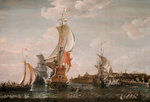 A Zeeland ship and other Dutch vessels off Flushing by Bonaventura Peeters the Elder - print