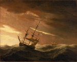 An English ship lying-to in a gale by Adriaen van Diest - print