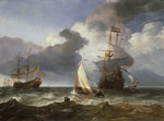 A smalschip with two Dutch East Indiamen coming to anchor by unknown - print