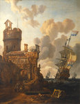 A Dutch ship passing a fort by Willem Van de Velde the Younger - print