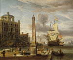 A Venetian pilgrim ship in an Italian port by Ludolf Bakhuizen - print