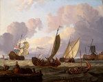 Ships passing a windmill by Thomas Luny - print
