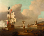 A ship saluting a fort by Peter Monamy - print