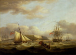 A cutter passing astern of a frigate by Augustus Wall Callcott - print