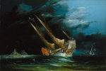 A trading junk at sea by Francois Etienne Musin - print