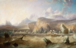 A whaler off a mountainous coast by Francois Etienne Musin - print