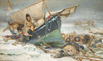 Sir John Franklin dying by his boat during the North-West Passage expedition of HMS 'Erebus' and 'Terror'