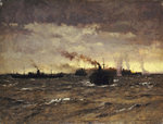 Raider in sight: convoy dispersing by Norman Wilkinson - print