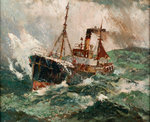 Gale force 8: trawler in a rough sea by Charles Ernest Cundall - print