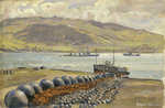 Campbeltown Loch boom nets and floats by John Everett - print