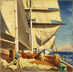 Mending sails on the deck of the 'Birkdale' by William Hodges - print