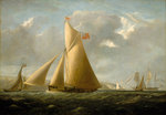 The cutter yacht 'Gazelle' off Cowes by Denis Dighton - print