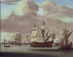 Calm: HMS 'Royal James', a royal yacht and other shipping by Willem Van de Velde the Younger - print
