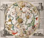 Part of a southern hemisphere star chart from Reiner Ottens's Atlas Maior (1730), with the Greenwich Observatory (left) and the Round Tower observatory in Copenhagen (right) by John Blaeu - print